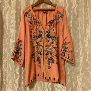 Johnny Was Tivva Embroidered Linen Pullover Top